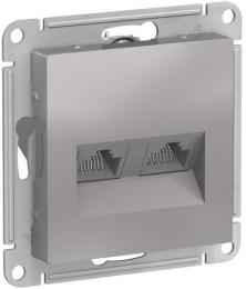 Розетка компьютерная RJ45 AtlasDesign двойная кат. 5e (алюминий) ATN000385