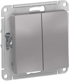 Выключатель двухклавишный AtlasDesign (алюминий) ATN000351