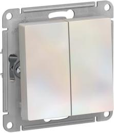 Выключатель двухклавишный AtlasDesign (жемчуг) ATN000451