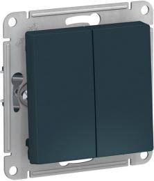 Проходной двухклавишный переключатель AtlasDesign (изумруд) ATN000865