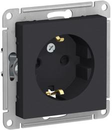 Розетка с заземлением со шторками AtlasDesign (карбон) ATN001045