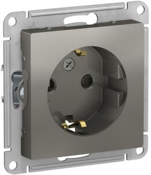 Розетка с заземлением со шторками AtlasDesign (сталь) ATN000945