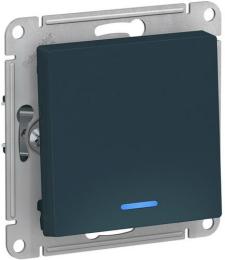 Проходной одноклавишный переключатель с подсветкой AtlasDesign (изумруд) ATN000863