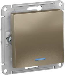 Выключатель одноклавишный с подсветкой AtlasDesign (шампань) ATN000513