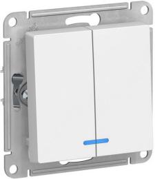 Выключатель двухклавишный с подсветкой AtlasDesign (белый) ATN000153