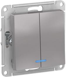 Выключатель двухклавишный с подсветкой AtlasDesign (алюминий) ATN000353
