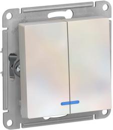Выключатель двухклавишный с подсветкой AtlasDesign (жемчуг) ATN000453