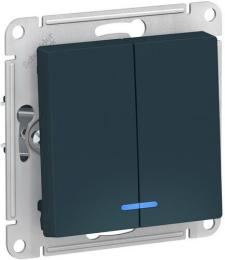 Выключатель двухклавишный с подсветкой AtlasDesign (изумруд) ATN000853