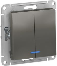 Выключатель двухклавишный с подсветкой AtlasDesign (сталь) ATN000953