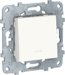 Перекрестный одноклавишный переключатель с подсветкой Unica New (белый) NU520518N