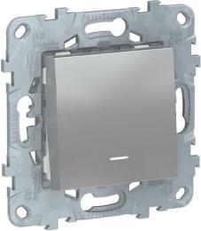 Проходной одноклавишный переключатель с подсветкой Unica New (алюминий) NU520330N
