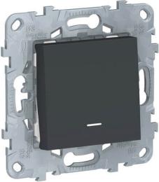 Выключатель одноклавишный с подсветкой Unica New (антрацит) NU520154N