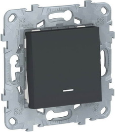 Проходной одноклавишный переключатель с подсветкой Unica New (антрацит) NU520354N