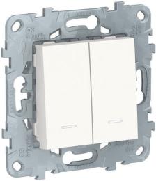Проходной двухклавишный переключатель с подсветкой Unica New (белый) NU521318N