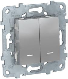 Проходной двухклавишный переключатель с подсветкой Unica New (алюминий) NU521330N