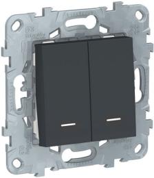 Проходной двухклавишный переключатель с подсветкой Unica New (антрацит) NU521354N