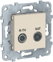 Розетка R-TV/SAT Unica New проходная (бежевый) NU545644