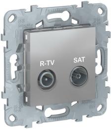 Розетка R-TV/SAT Unica New проходная (алюминий) NU545630