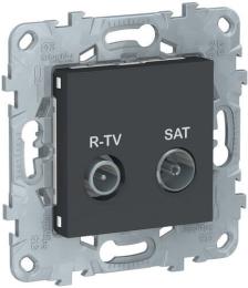 Розетка R-TV/SAT Unica New проходная (антрацит) NU545654