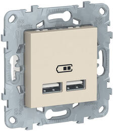 Розетка USB Unica New тип А/тип А (бежевый) NU541844
