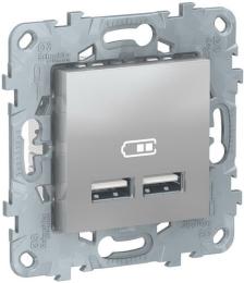 Розетка USB Unica New тип А/тип А (алюминий) NU541830