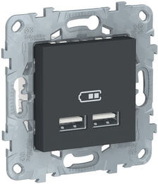 Розетка USB Unica New тип А/тип А (антрацит) NU541854
