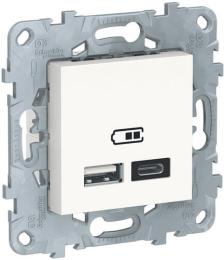 Розетка USB Unica New тип А/тип C (белый) NU501818