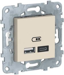 Розетка USB Unica New тип А/тип C (бежевый) NU501844