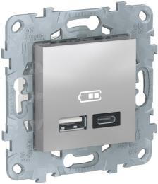 Розетка USB Unica New тип А/тип C (алюминий) NU501830