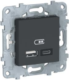 Розетка USB Unica New тип А/тип C (антрацит) NU501854