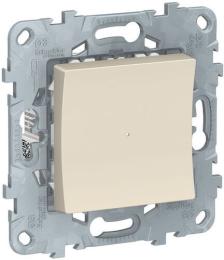 Одноклавишный кнопочный выключатель с подсветкой Unica New (бежевый) NU520644N