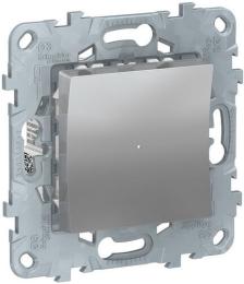 Одноклавишный кнопочный выключатель с подсветкой Unica New (алюминий) NU520630N