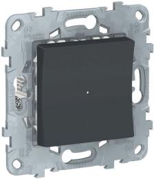Одноклавишный кнопочный выключатель с подсветкой Unica New (антрацит) NU520654N