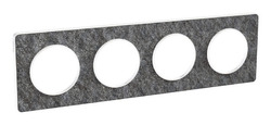 Рамка Odace четырехместная (черный фосфор/белая вставка) S52P808T