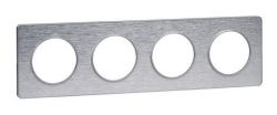 Рамка Odace четырехместная (полированный алюминий/алюминиевая вставка) S53P808J