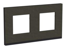 Рамка Unica Pure  двухместная горизонтальная (камень / антрацит) NU600487