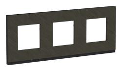 Рамка Unica Pure трехместная горизонтальная (камень / антрацит) NU600687