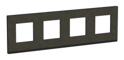 Рамка Unica Pure четырехместная горизонтальная (черное стекло / антрацит) NU600886