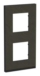 Рамка Unica Pure двухместная вертикальная (черное стекло / антрацит) NU6004V86