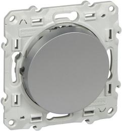 Выключатель одноклавишный с подсветкой Odace (алюминий) S53R201+S52R291