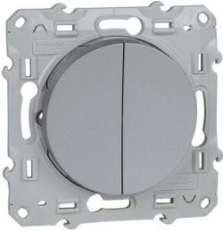 Проходной двухклавишный переключатель с подсветкой Odace (алюминий) S53R213+S52R291