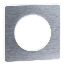 Рамка Odace одноместная (полированный алюминий/белая вставка) S52P802J