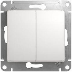 Выключатель двухклавишный Glossa (белый) GSL000151