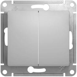Выключатель двухклавишный Glossa (алюминий) GSL000351