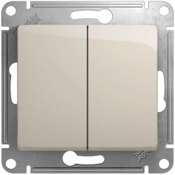Выключатель двухклавишный Glossa (молочный) GSL000951