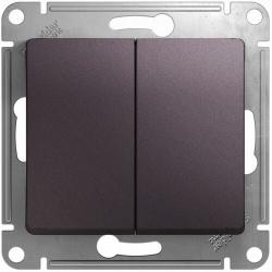 Выключатель двухклавишный Glossa (сиреневый туман) GSL001451