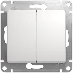 Проходной двухклавишный переключатель Glossa (белый) GSL000165