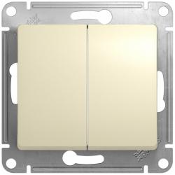 Проходной двухклавишный переключатель Glossa (бежевый) GSL000265