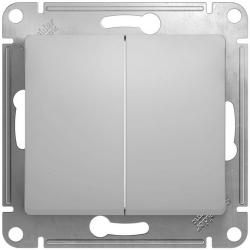Проходной двухклавишный переключатель Glossa (алюминий) GSL000365