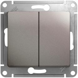Проходной двухклавишный переключатель Glossa (платина) GSL001265